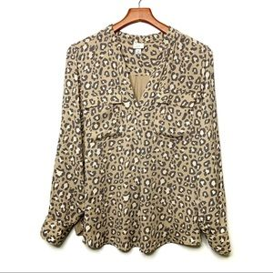 A NEW DAY Leopard Print Popover Blouse Size XL
